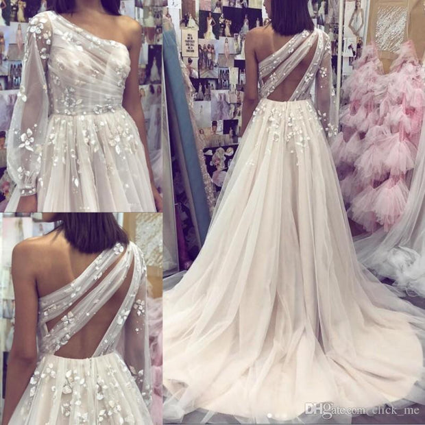 b0db9203771 White Long Prom Dress with Sleeves Appliques Formal Gowns One Shoulder