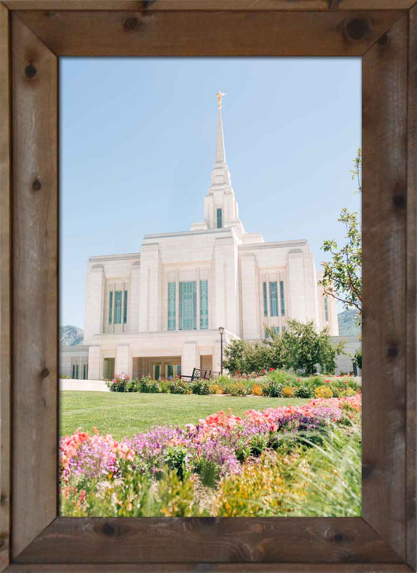 Ogden Temple with Pink and Purple flowers