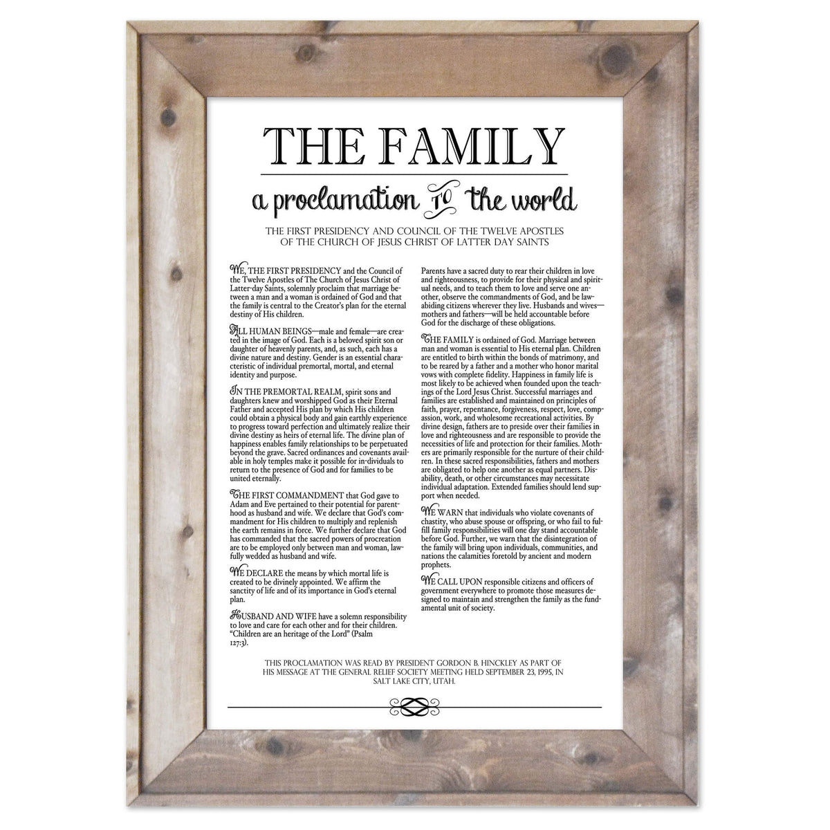 photo regarding The Family a Proclamation to the World Printable identify Loved ones Proclamation Print Barn Picket Body - LDS/Mormon