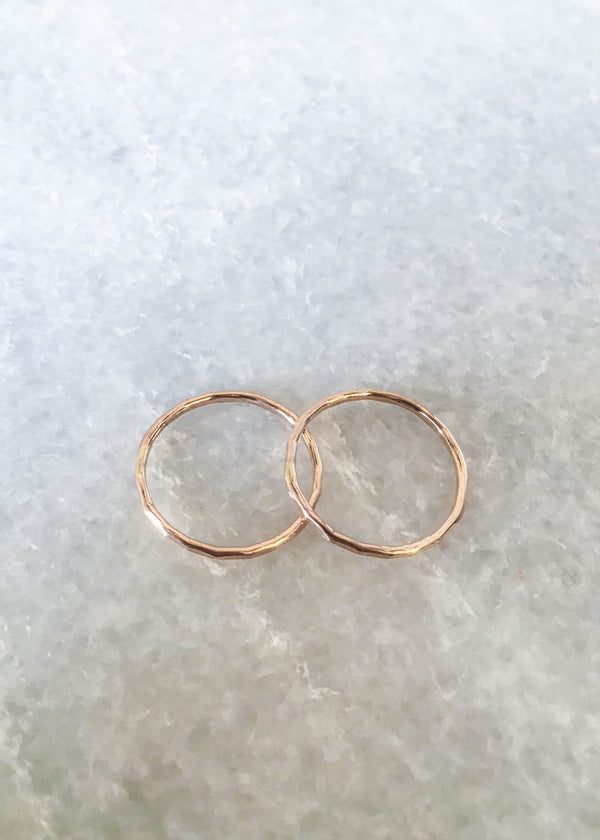 14K GF Hammered Stacking Ring - AMĒNAH