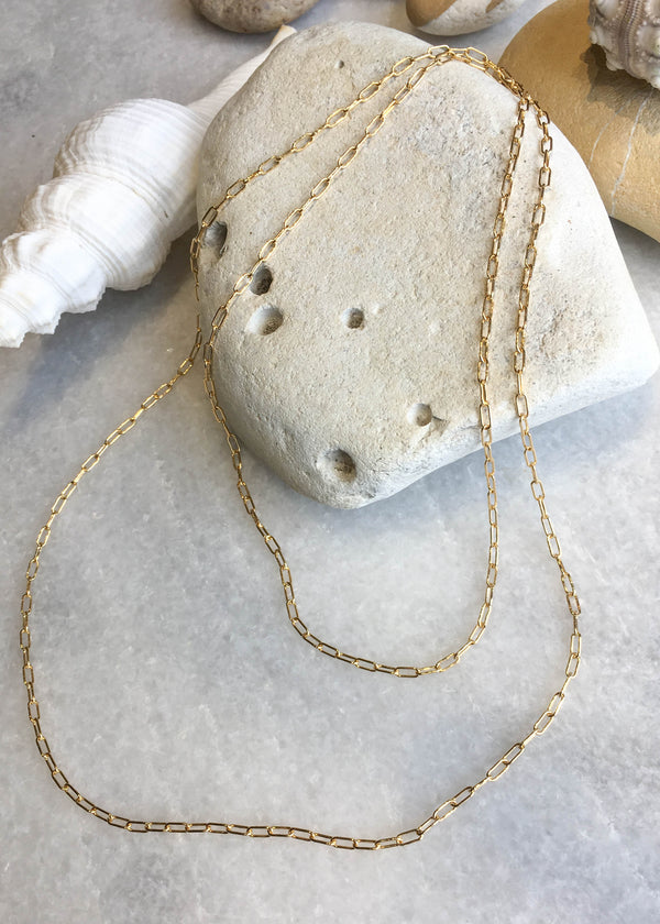 Rectangle Layering Chain Necklace - AMĒNAH