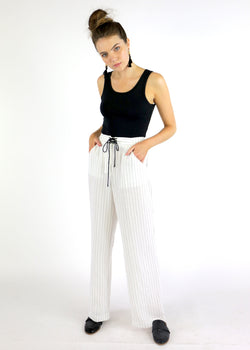 Pin Stripe Lace-Up Wide Leg Pant - AMĒNAH