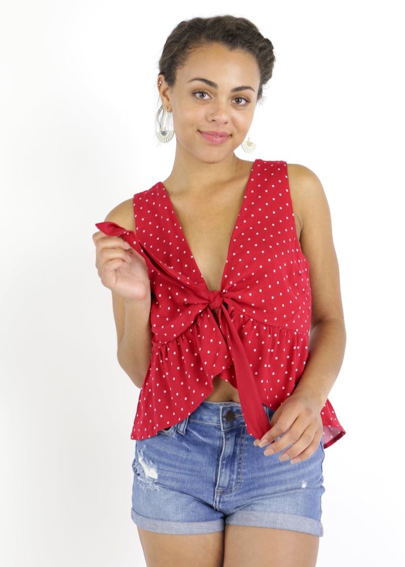 Polka Dot Flounce Tank - Cherry Red