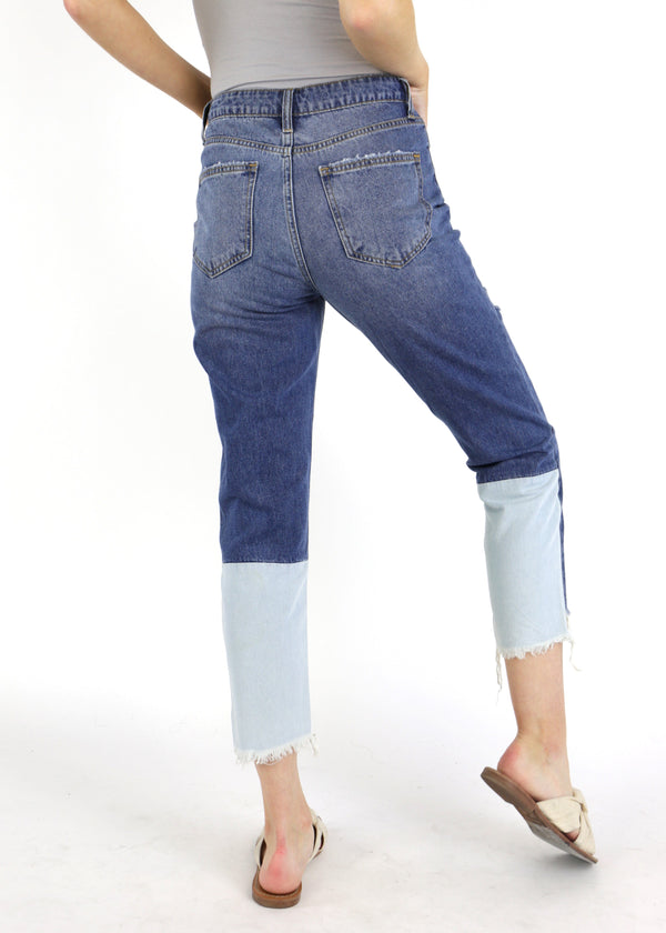 Frayed Hem Patch Back Jeans - AMĒNAH