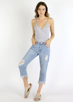 Frayed Hem Girlfriend Jeans
