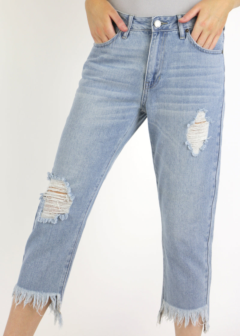 Frayed Hem Girlfriend Jeans - AMĒNAH