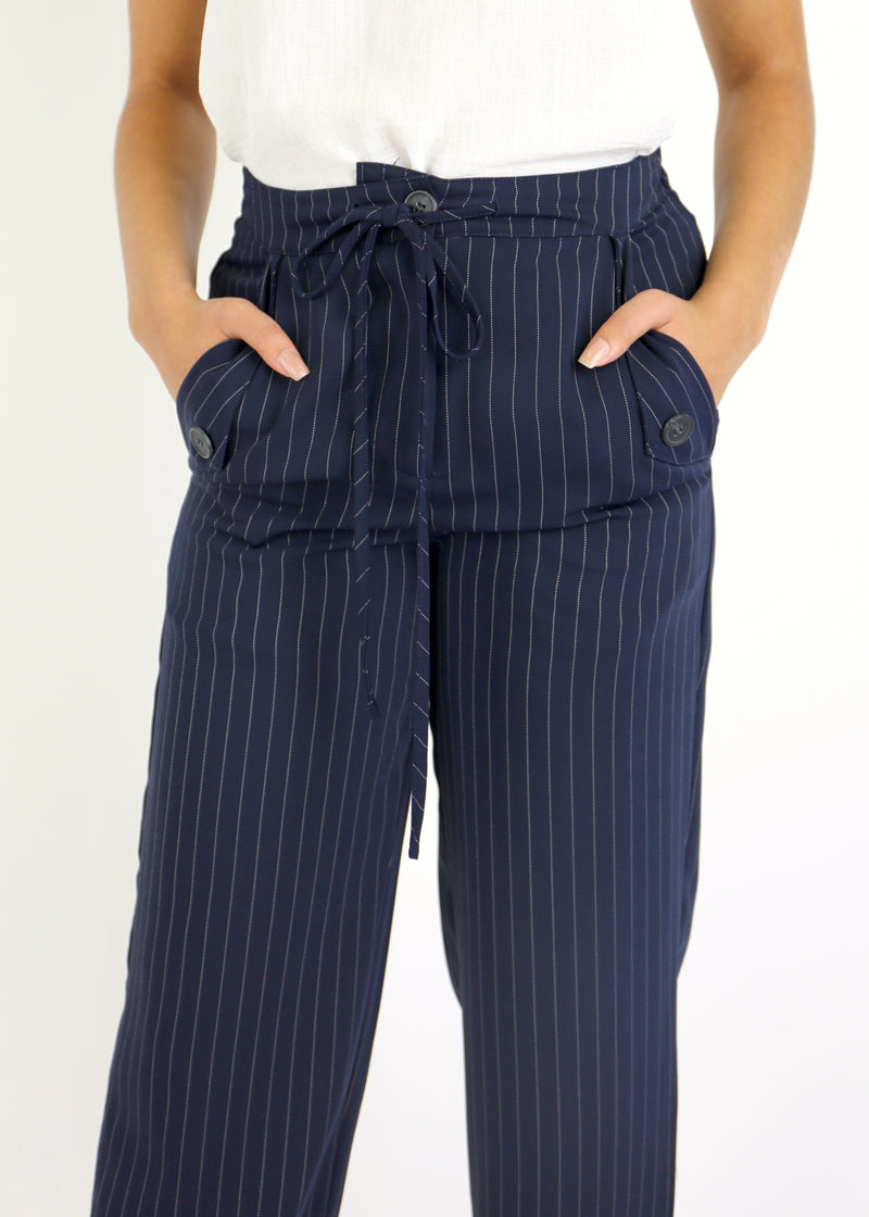 Striped Tie Waist Trouser