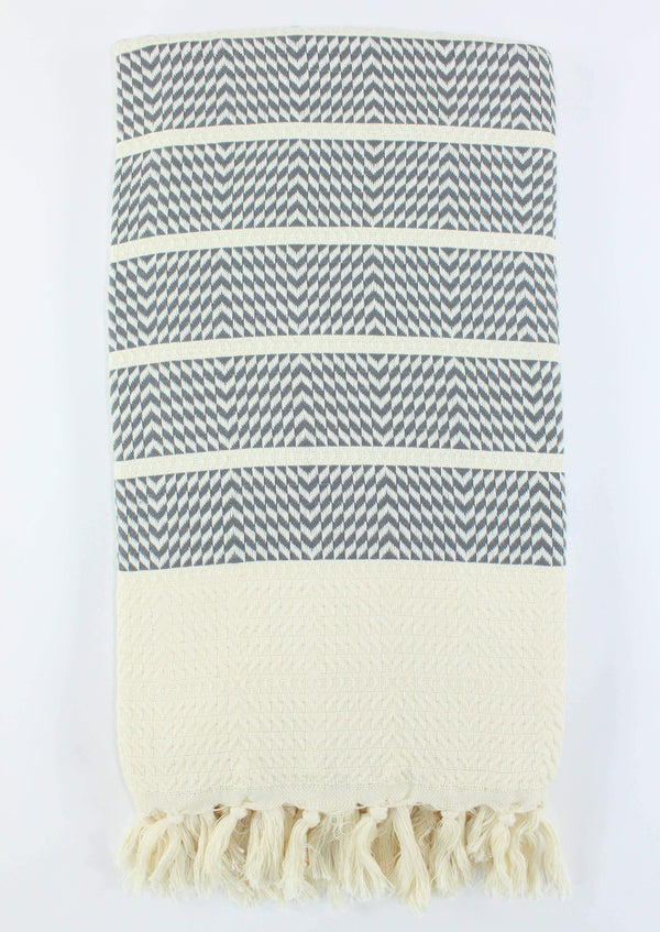 Turkish Towel - Grey Herringbone