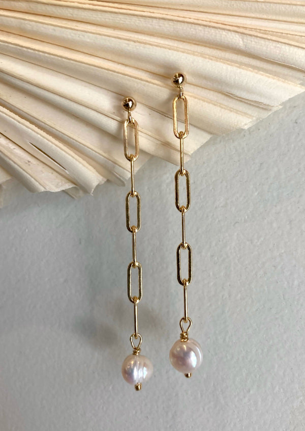 Thick Chain Pearl Drop Earrings