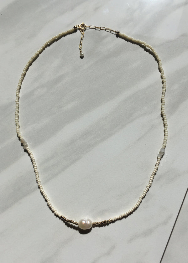 Pearl Beaded Tonal Necklace