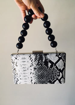Beaded Snakeskin Box Clutch