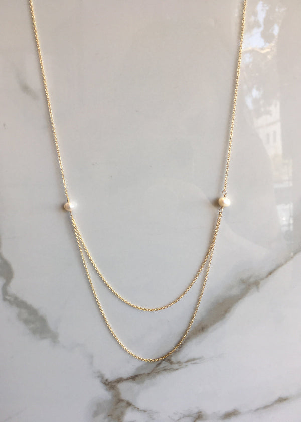 Layered Pearl Gold Fill Necklace