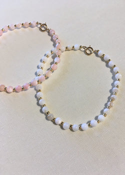 Shell + Gold Bead Bracelet