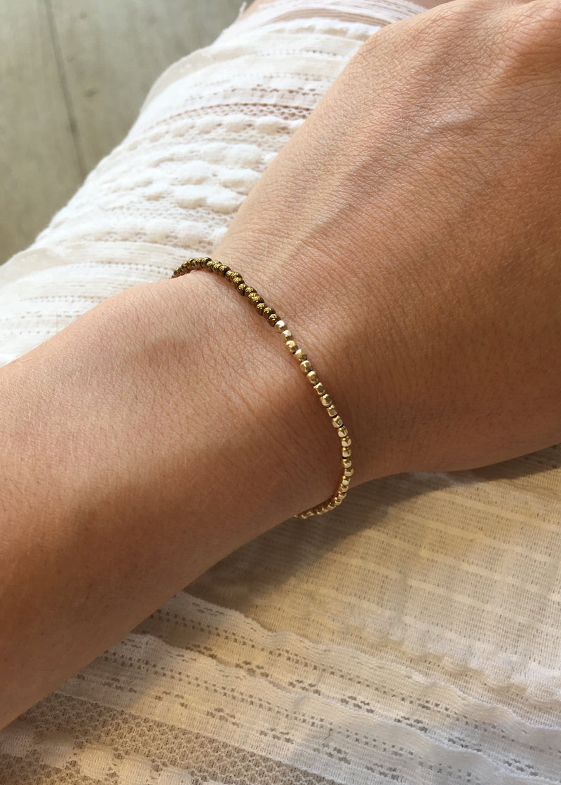 Two Tone Gold Beaded Bracelet