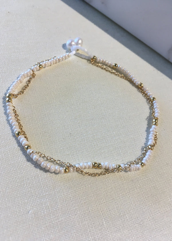 Beaded Chain + Pearl Bracelet
