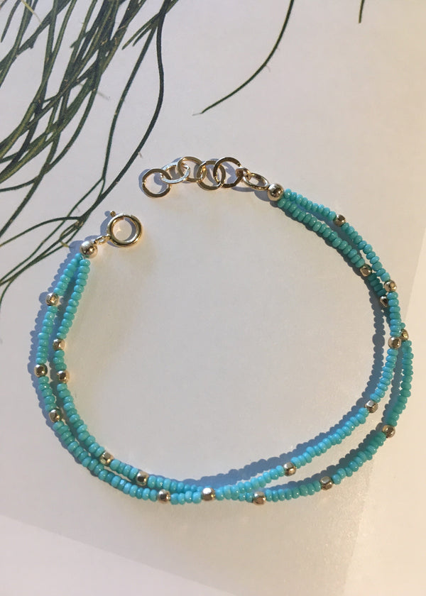 Teal + Gold Layered Bracelet
