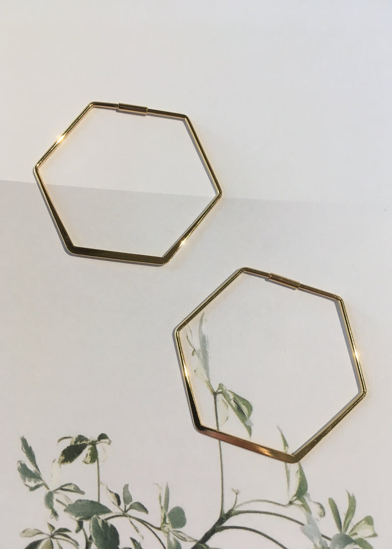 Gold Dipped Hex Hoops