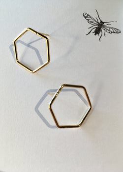 Gold Dipped Hex Studs