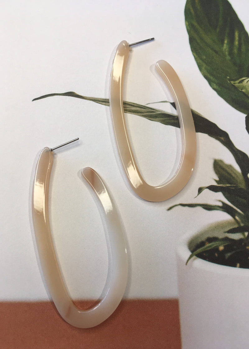 Resin Long Hoop Earrings