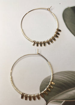 Gold Charm Beaded Hoops