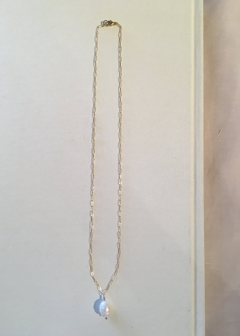 Gold Fill Paperclip Chain Pearl Necklace
