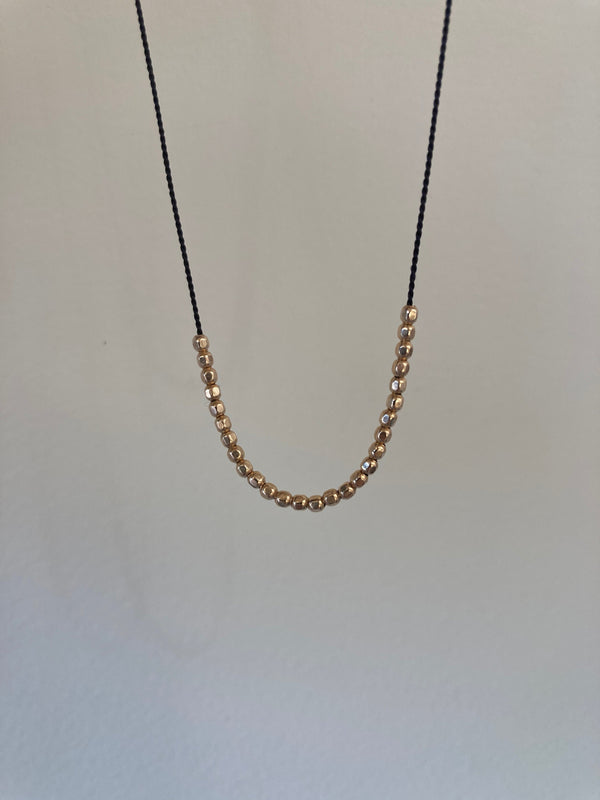 Minimal Silk + Gold Fill Small Bead Necklace