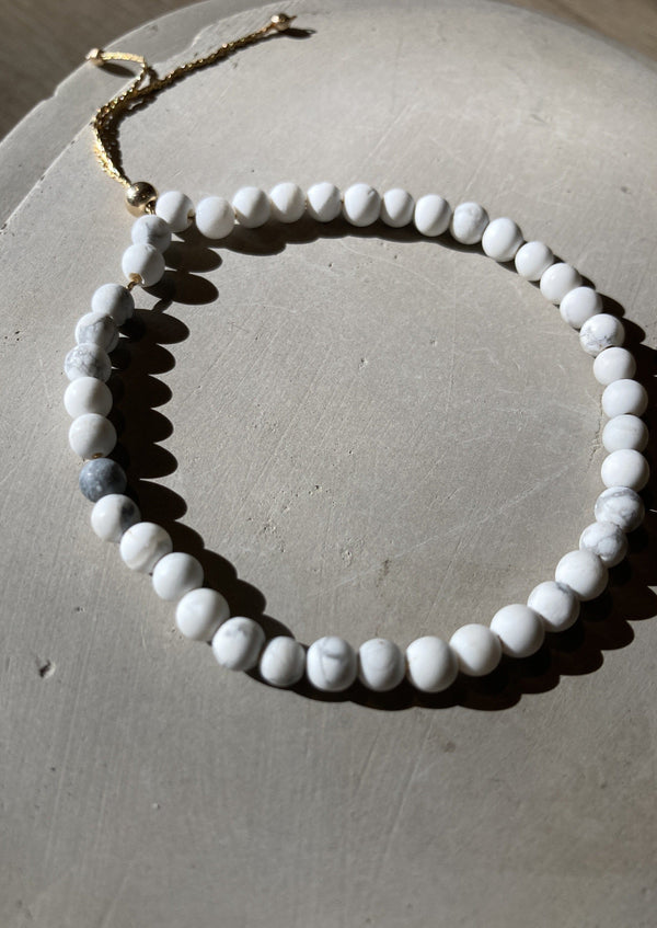 Marble Howlite Gold Fill Adjustable Bracelet