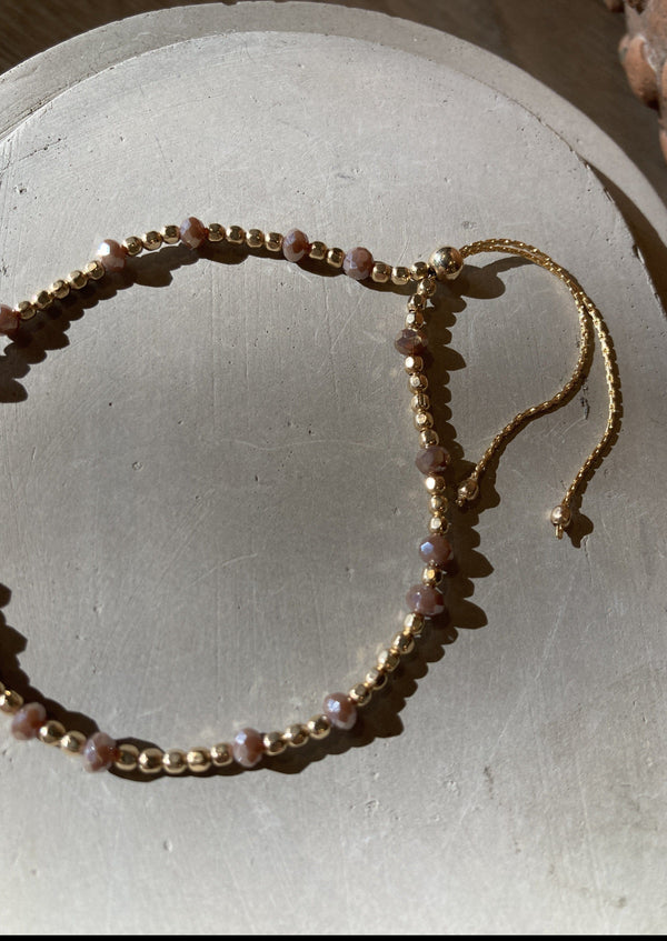 Crystal + Gold Bead Adjustable Bracelet