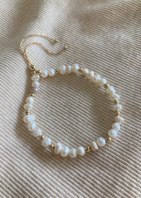 Pearl + Gold Bead Adjustable Bracelet