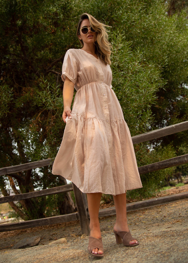 Jasmine Midi Dress - Dusty Pink