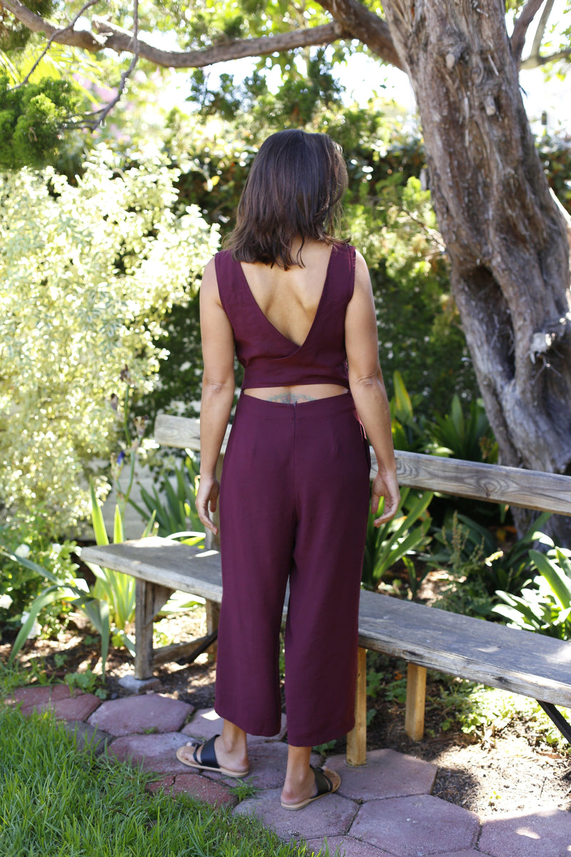 Sleeveless Culotte Jumpsuit - Burgundy