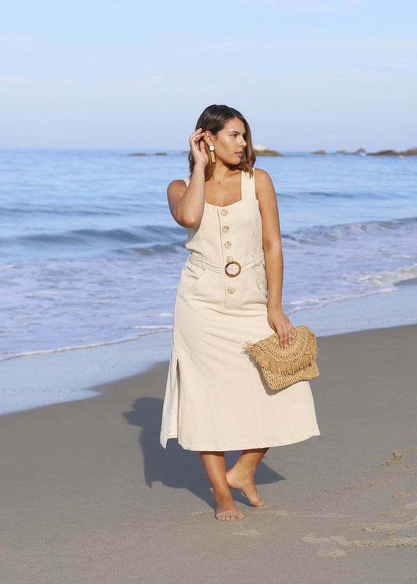 Belted Linen Jumper - Cream - AMĒNAH