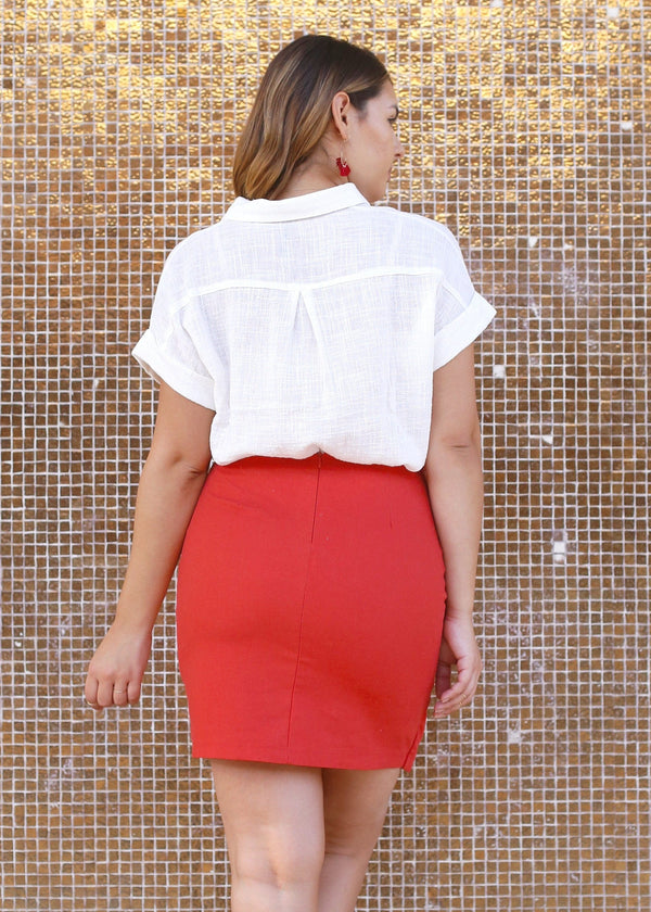 Woven Wrap style Button Front Skirt