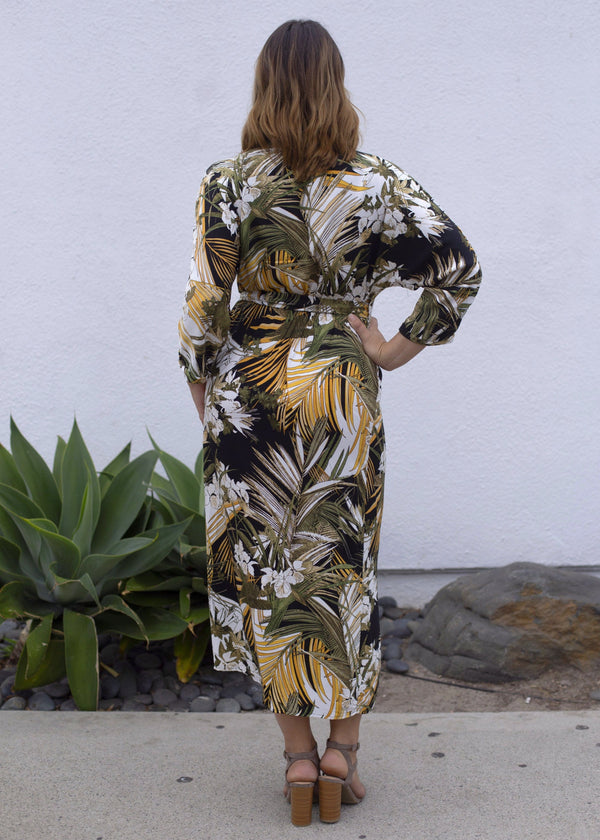 Palm Print Wrap Maxi Dress - AMĒNAH