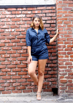 Button Up Collared Romper - AMĒNAH