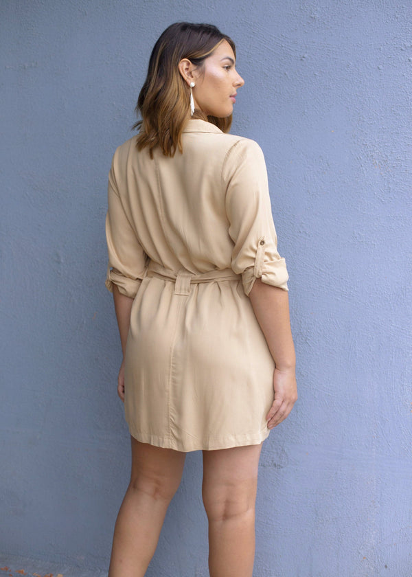 Long Sleeve Trench Style Dress - Taupe - AMĒNAH