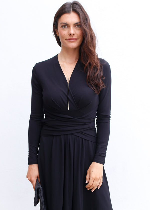 Long Sleeve Wrap Tie Dress - AMĒNAH