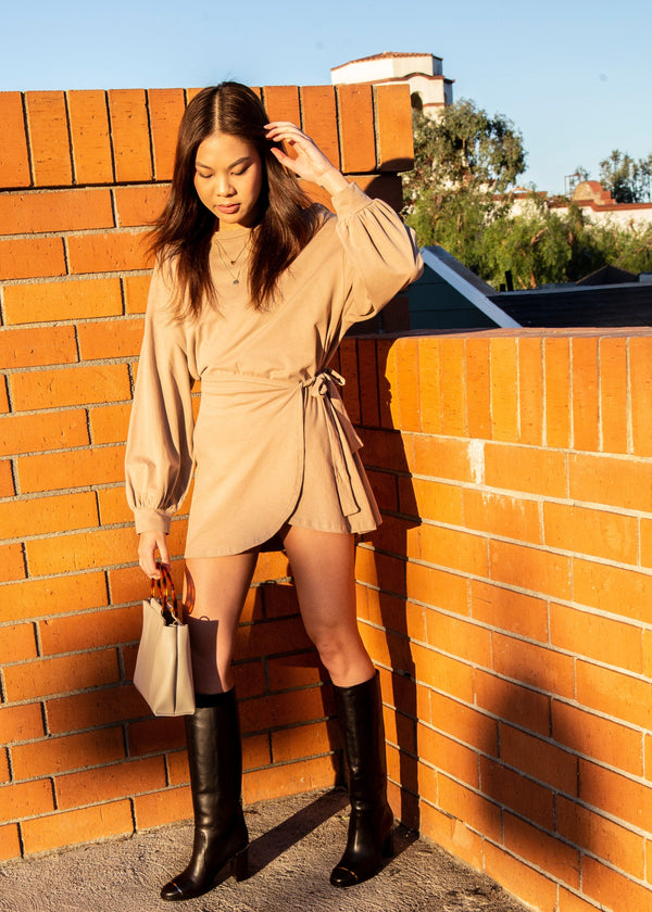 Puff Sleeve Wrap Sweatshirt Dress - Mocha
