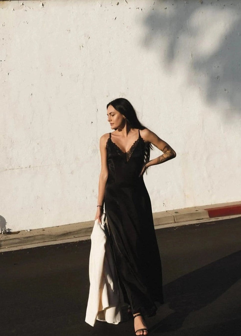Satin Lace Trim Maxi Slip Dress - AMĒNAH