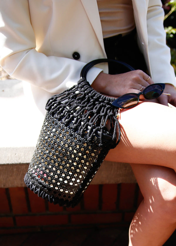 Rattan + Macrame Bucket Bag - Black