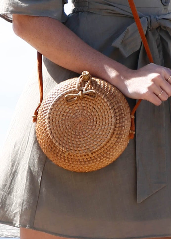 Rattan Picnic Style Crossbody- Natural