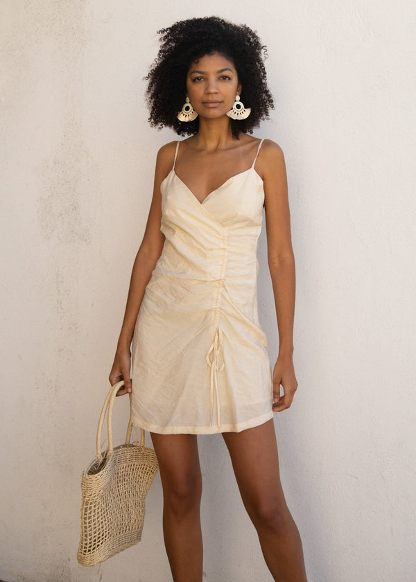 Aspen Ruched Dress - Cream