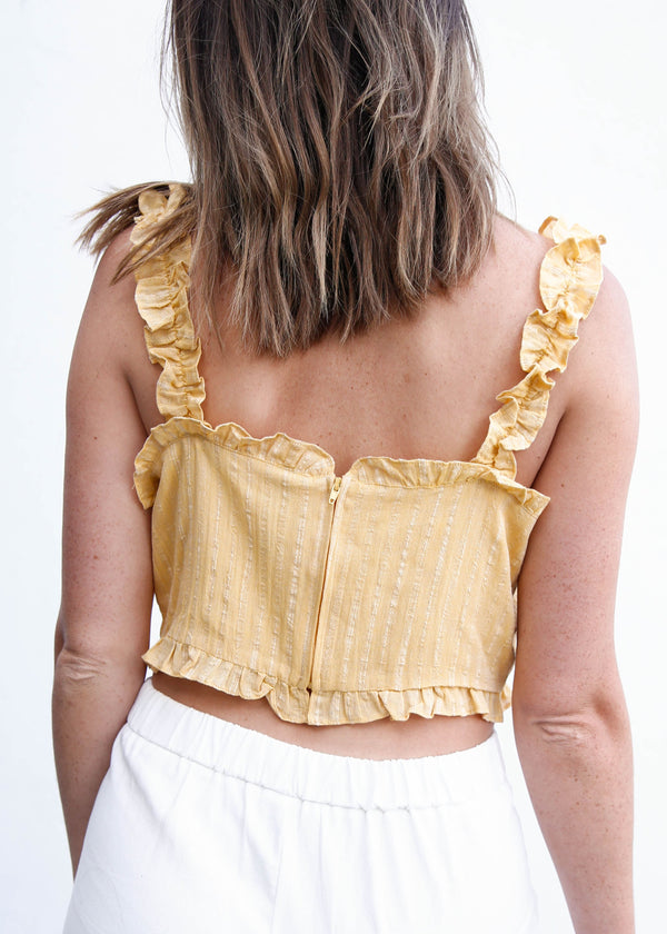 Ruffle Trim Lace-Up Crop Top - AMĒNAH