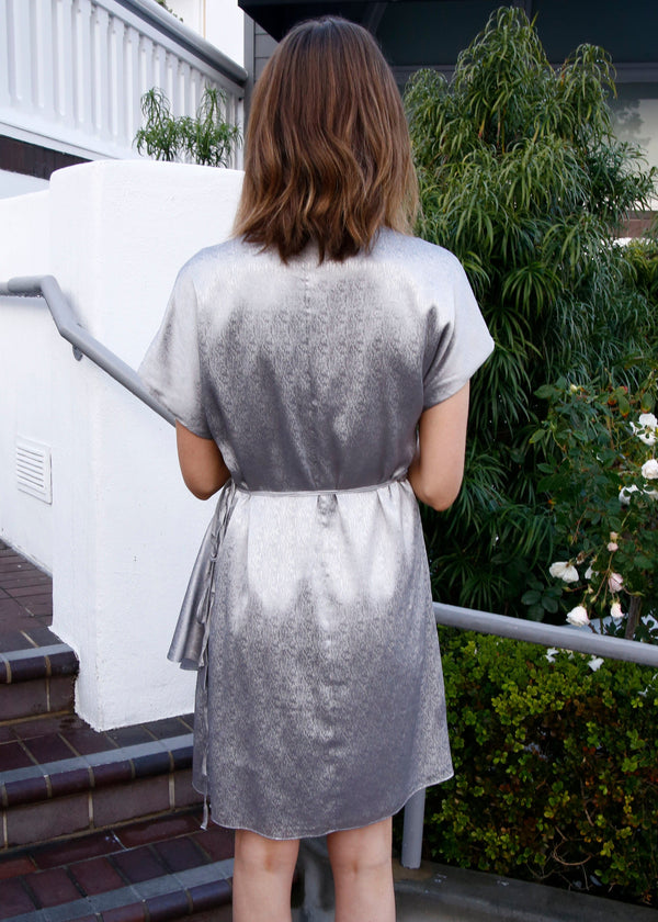 Satin Metallic Wrap Dress
