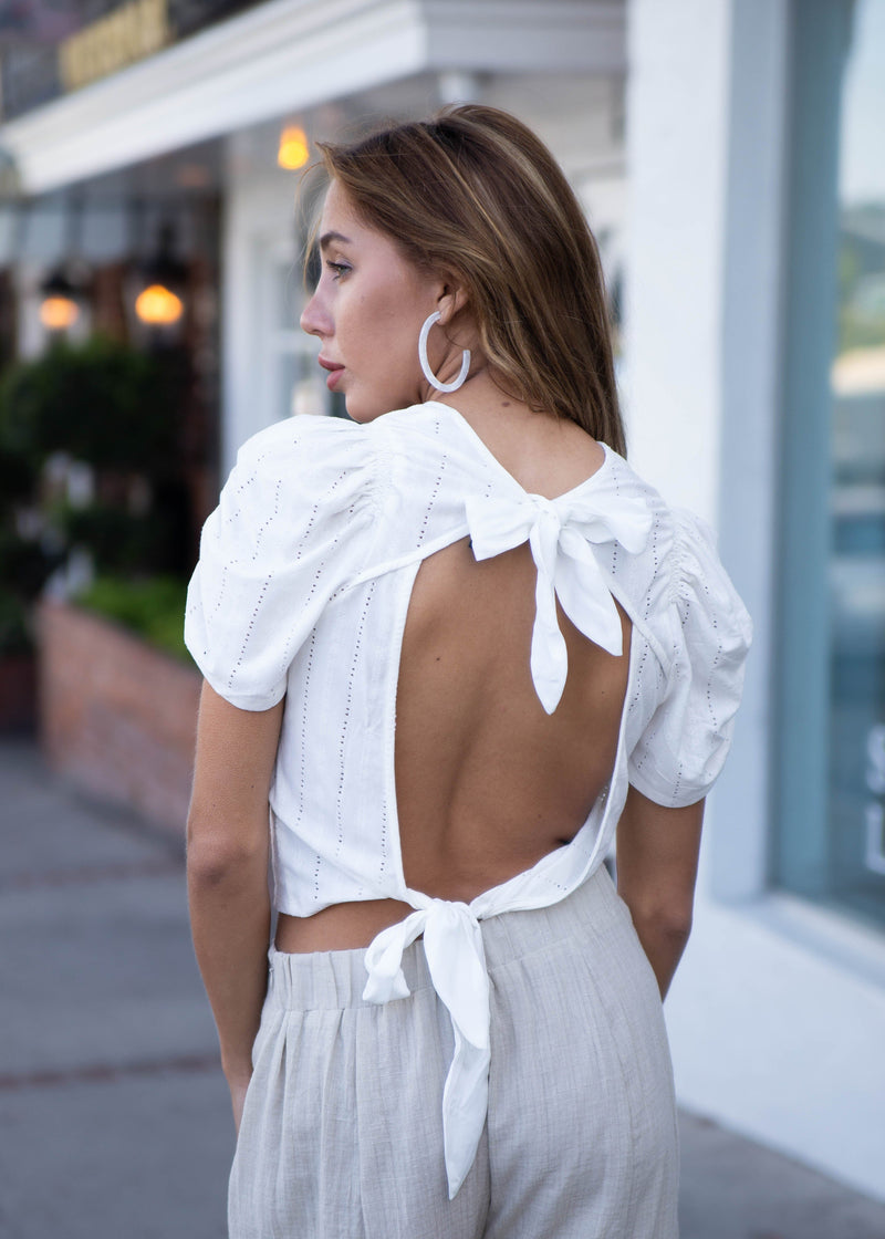 Open Back Embroidered Eyelet Blouse - AMĒNAH