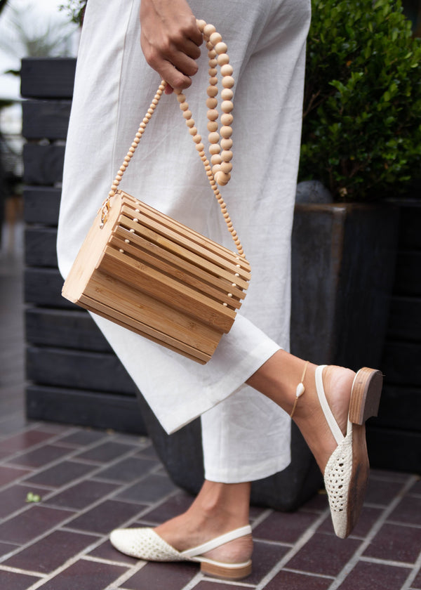 Bamboo + Wood Bead Bag - AMĒNAH
