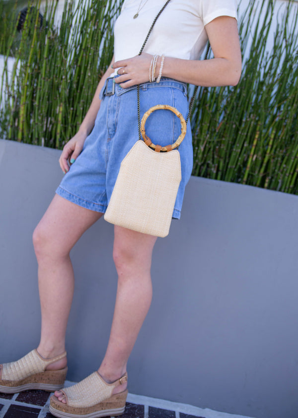 Bamboo Handle Straw Clutch - AMĒNAH