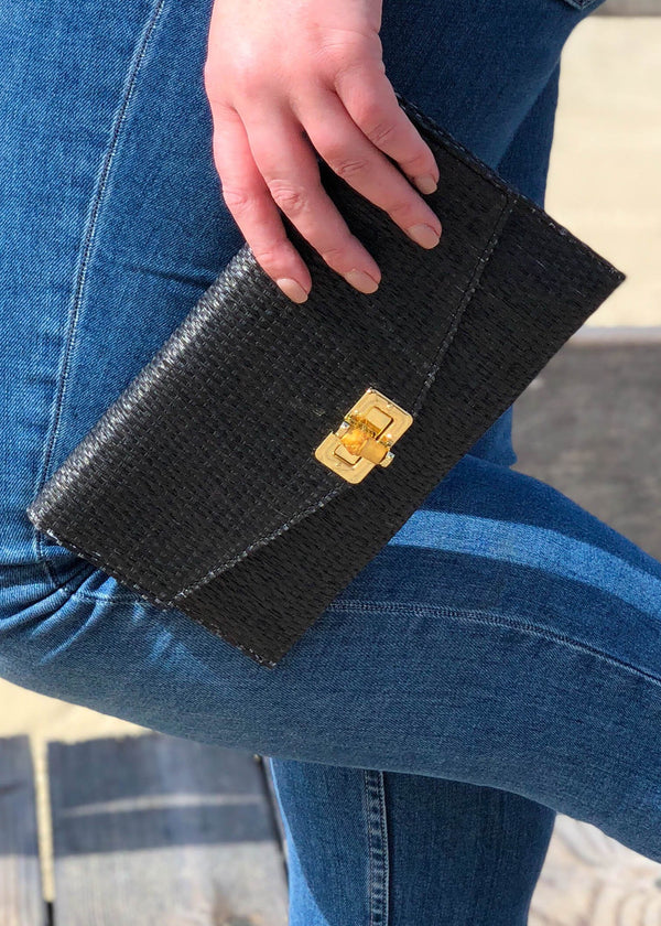 Straw Clutch with Bamboo Toggle Closure- Black