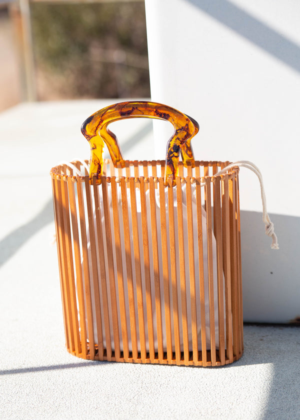 Bamboo Cage Resin Handle Bag