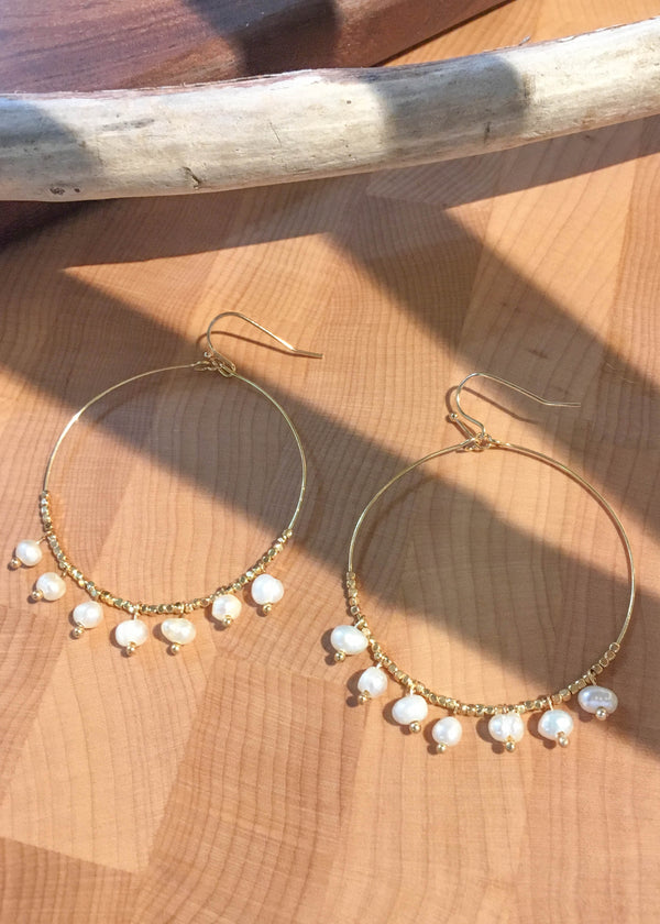pearl hoops, beaded hoops, beaded pearl hoops, pearl dangle hoops, earrings, cute hoop earrings, summer accessories, accessory ideas, cute accessories, gift ideas for her, accessory trends, summer trends 2019, New arrivals
